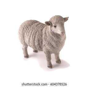 White sheep figure on white background
