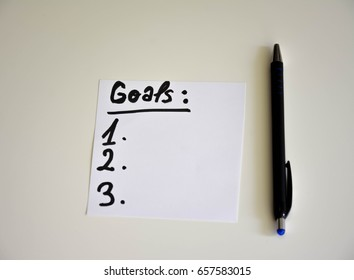 White sheet with goals text on a white background