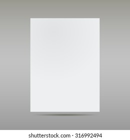 White sheet of paper on gray background