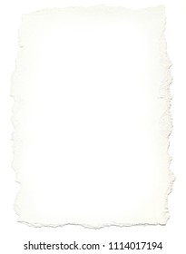 White sheet of paper with torn edges along the perimeter. Scanned piece with subsequent retouching.