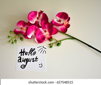 White sheet with welcome august text and pink orchid on a white background