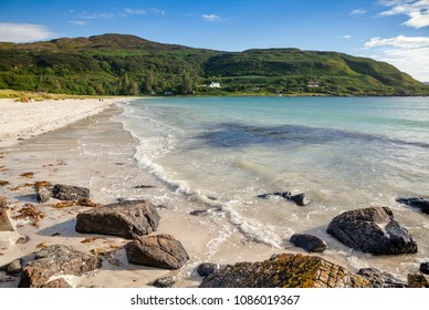 White shell sand beach of Calgary Bay, Isle of Mull, Argyll and Bute, Scotland, UK