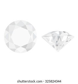 White, shimmering diamond top and side view raster isolated. Luxury jewelry. Brilliant gemstone