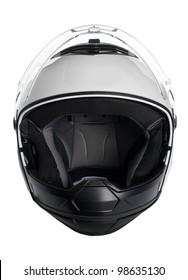 White, shiny motorcycle helmet isolated