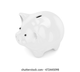 White shiny piggybank on white background. Concept of investment, savings and more. 3D rendering.