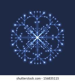White shiny sparkling snowflake on dark blue background.