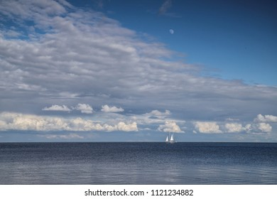 the white ship in distance
