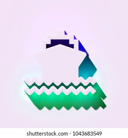 White Ship on Waves Icon. 3D Illustration of White Ahoy, Boat, Marine, Sea, Ship, Water, Waves Icons With Blue and Green Shadows.