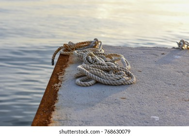 White ship rope and sea
