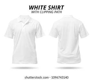 White shirt isolated on white background. Blank clothing for design. ( Clipping path )