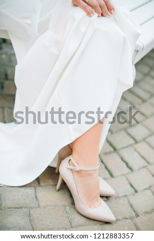 2ba9e424c6bd White Shoes Heels White Wedding Dress Stock Photo (Edit Now ...