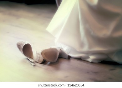 white shoes and wedding dress background