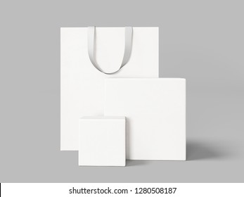 White Shopping Bag and Boxes