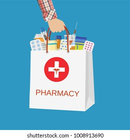 White shopping bag with different medical pills and bottles in hand. Healthcare and shopping, pharmacy, drug store. illustration in flat style Raster version
