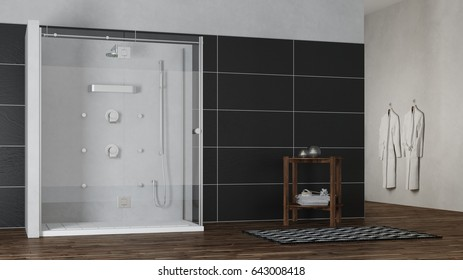 White shower in wellness spa next to the sauna (3D Rendering)