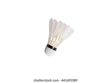 White shuttlecock isolated on white background
