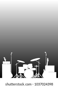 White Silhouette of a rock bands equipment on stage as a poster