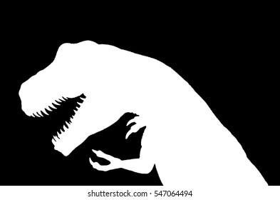 White silhouette of a tirannosaurus rex over black background