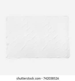 White silk scarf isolated on white background with shadow. Many views of beautiful fabric ribbon top front. Studio shot. Tied neckerchief on white background set