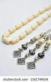White and silver beads sequenced, short rosary, tespih tesbih