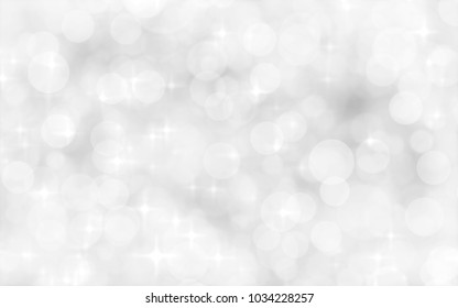 White and silver blur abstract background with bokeh lights for background and wallpaper Christmas.