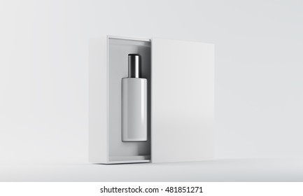 White and silver bottle of perfume in white box against white background. Concept of new fragrance promotion to market. 3d rendering. Mock up