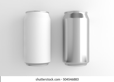 White and Silver can on white background. 3D illustration