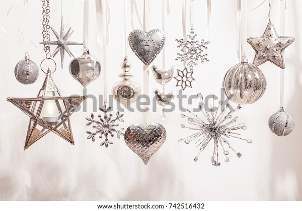 White Silver Christmas Ornaments Decorations Hanging Stock Photo