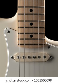 White single coil giutar close up, for music,entertainment themes