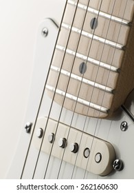 White single coil guitar close up, for music,entertainment themes