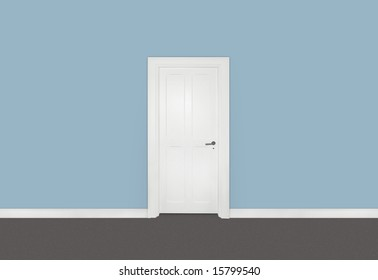 White single door against blue wall