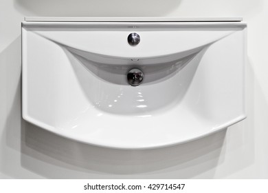 White sink on the wall view from above