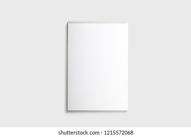 White sketch book Mock-up isolated on soft gray background  .Sketch book blank page.