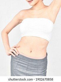 White skin of the model Showing good figure White background