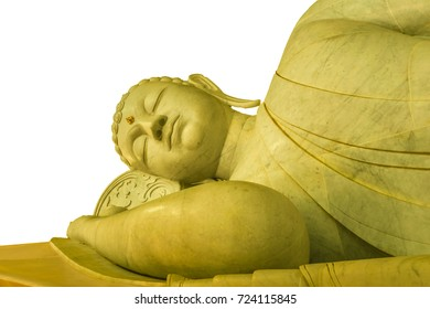 the white sleeping Buddha in temple Thailand,travel temple Thailand and Beautiful temple,isolated image with white background