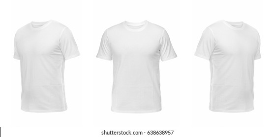 White sleeveless T-shirt. t-shirt front view three positions on a white background