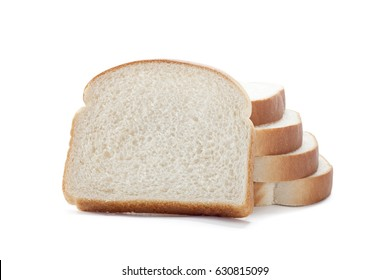 White sliced bread on white background