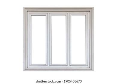 White sliding aluminum window frame isolated on a white background