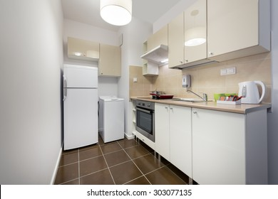 White, small kitchen interior design