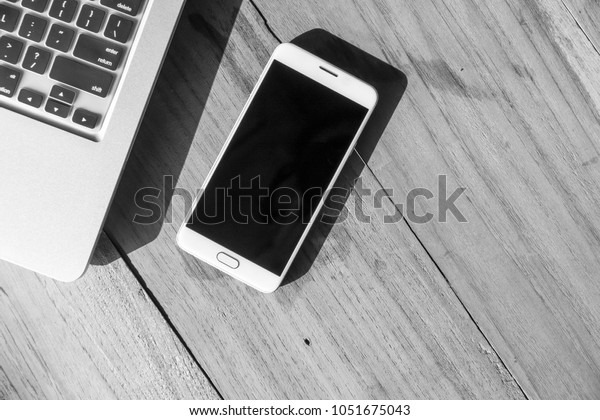 White Smart Phone Blank Black Screen Stock Photo (Edit Now