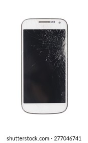 white smart phone with broken screen isolated on white background.