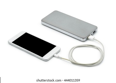White smart phone charger with power bank (battery bank) on white background with clipping path