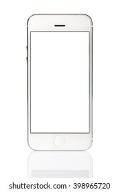 White Smart Phone Isolated on WhiteBackground