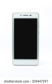white smart phone on white background