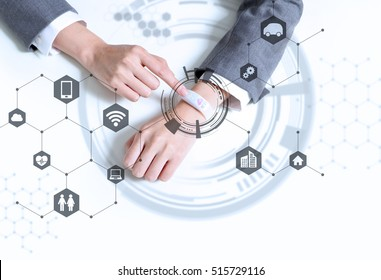 white smart watch and IoT(Internet of Things) concept, wearable device