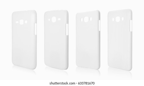 White smartphone case on isolated background with clipping path. Plastic cover for your design.