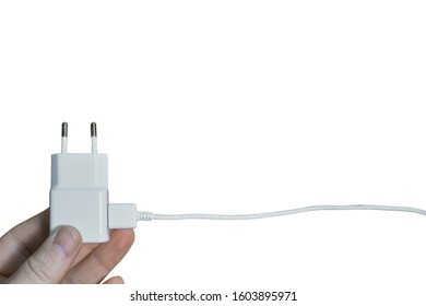 White smartphone charger isloated on white background, european type.