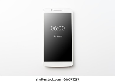 White smartphone on white background with Clipping path at the screen
