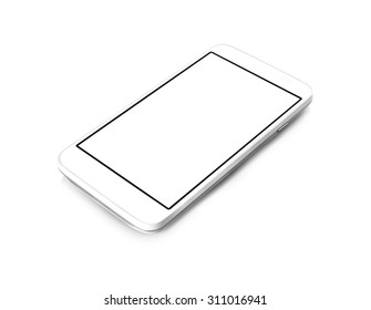 White smartphone on isolated white background with white screen