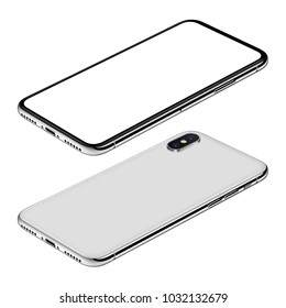 White smartphone perspective view mockup. Frameless smartphone front side with white screen and back side lies on surface isolated on white background. 3D illustration.